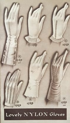 Vintage Gloves History- 1930 1960 - - The history of vintage gloves from 1900 to Long and short gloves, gauntlet, opera, wrist, and ruched styles. Day and evening looks. Gloves Fashion, Fashion Mask, Look Fashion, Classy Fashion, 80s Fashion, Hijab Fashion, Vintage Dresses, Vintage Outfits, Vintage Fashion