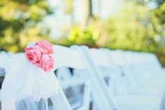 Sweet and simple pink rose wedding ceremony aisle markers {Vanessa Joy Photography}
