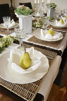 Rattan mats and pears