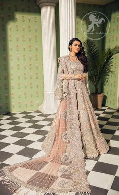 Salmon Pink Blouse Lehenga Scalloped Dupatta - Buy Latest Pakistani Bridal Fashion Dresses for Bride 2020 Prices Asian Bridal Dresses, Pakistani Wedding Outfits, Indian Bridal Outfits, Pakistani Bridal Dresses, Pakistani Wedding Dresses, Asian Bridal Wear, Indian Bridal Couture, Beautiful Pakistani Dresses, Walima Dress
