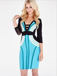 Long sleeved dress blue gauze bandage dress $117.65