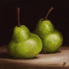 Pair of Pears, J Palmer Daily painting Original oil still life Art