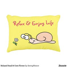 Relaxed Snail & Cute Flower Decorative Pillow