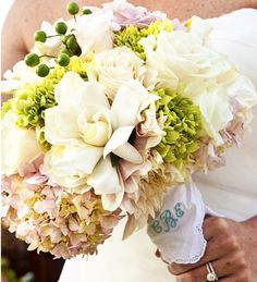 """Wedding bouquet idea: bring your grandma old piece of history and use it to wrap the bouquet.. it will make you feel your passed dear is with you on your special day!!!. if embroidered in blu.. you have the """"something blue and something old"""" already with you"""""""