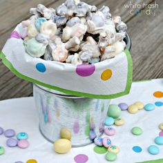 White Trash Candy, grab a bunch of sweet and salty items out of pantry, cover in white chocolate and enjoy