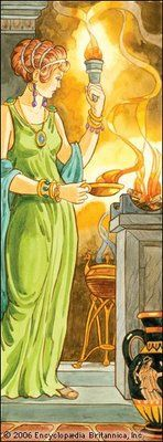 Hestia the  hearth goddess. Raising a family, keeping of the home. The hearth fire/flame which honors the sacred home.