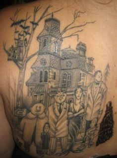 Addams Family Original Comic Book Characters On Back Left Shoulder