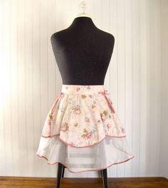 Vintage Apron  Pink Floral  Organza & Cotton  1950s by Anidar, $16.00