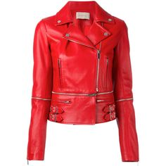 Christopher Kane leather biker jacket ($2,695) ❤ liked on Polyvore featuring outerwear, jackets, red, 100 leather jacket, leather moto jacket, christopher kane, leather jackets and rider jacket
