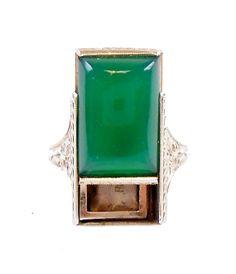 Art Deco Hidden Locket Ring