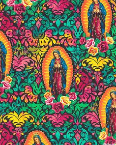 Lady of Guadalupe - Prayerful Moments - Black/Gold. Colorful with Our Lady of Guadalupe (Mary). So pretty and a simple reminder of heaven and God. Nice pillow or throw blanket. Viking Symbols, Egyptian Symbols, Viking Runes, Mayan Symbols, Ancient Symbols, Divine Mother, Mother Mary, Mexico Culture, Mama Mary