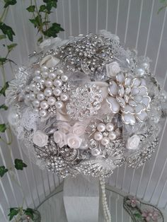 DEPOSIT-Brides Bridesmaids Brooch Bouquet  Jewelled Wedding Accessory Handmade Flowers Vintage Inspired