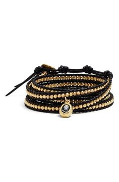Chan+Luu+Skull+Charm+Beaded+Leather+Wrap+Bracelet+available+at+#Nordstrom