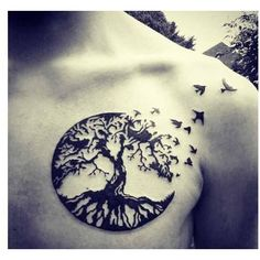 chest tree of life tattoo design ❤ liked on Polyvore featuring accessories, body art and tattoos