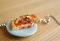 Pizza Earrings Food Jewelry Pepperoni Pizza by mousemarket on Etsy, $25.00