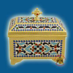 Reliquary or Relics Box - Tabernacle Β with enamel Gold Plated Byzantine Art, Orthodox Christianity, Religious Icons, Art Store, Holi, Folk Art, Decorative Boxes, Greek, Enamel