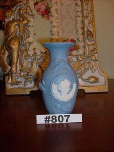 Blue White Jasperware Vase Wedgwood Type Vase with Cameo and roses by VigorouslyVintage on Etsy