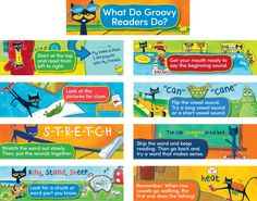 "Pete the Cat Reading Strategies Mini Bulletin Board - Pete the Cat reference posters guide beginning readers to use good reading strategies. Set of nine 6"" x 21"" posters. Includes teacher guide with activities and reproductibles."