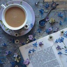 Imagem de book, flowers, and coffee