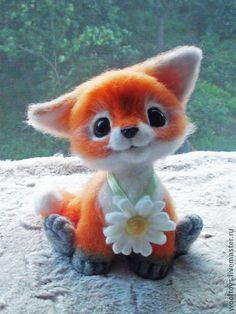 "*NEEDLE FELTED ART ~ Animal toys, handmade.  Fair Masters - handmade.  Buy Pup ""Romka"".  Handmade.  Auburn, gift"