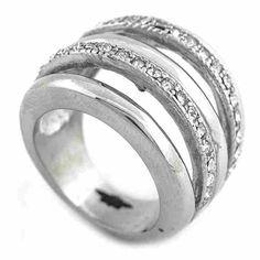 Joyas de Acero-Anillos-RA0811. Anillo acero y circones, diseño vanguardista