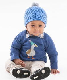 Cozy Baby Cap Free Knitting Pattern in Red Heart Baby Hugs Yarn