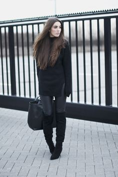 fashion - streetstyle - faux leather pants, oversized sweater