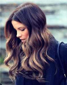 darker ombre...and how does she always get those PERFECT wavy curls that are all the same around her head?