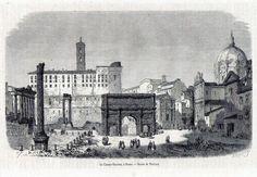 Antique print Rome Italy / stampa antica Campo Vaccino Roma 1861