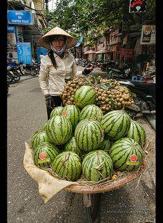 watermelon vendor in Hanoi, Vietnam