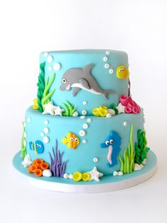 Cake decorating isn't quite as hard as it looks. Listed below are a couple of straightforward suggestions and tips to get your cake decorating job a win Baby Cakes, Cupcake Cakes, Super Mario Torte, Beautiful Cakes, Amazing Cakes, Decors Pate A Sucre, Dolphin Cakes, Rodjendanske Torte, Ocean Cakes