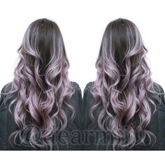 highlighted ombre to get a painted balyage look with silver and lilac hair. Instagram @dearmiju