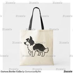 Shop Cartoon Border Collie Tote Bag created by CartoonizeMyPet. Cute Kawaii Animals, Budget Fashion, Holiday Photos, Border Collie, Custom Clothes, Dog Lovers, Reusable Tote Bags, Cartoon, Pets
