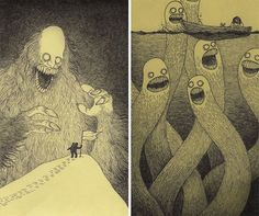 creepy monsters sticky notes drawings don kenn 2