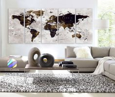 """XLARGE 30"""" x 70"""" 5 Panels Art Canvas Print Watercolor Map World Push Pin Travel Wall color Brown beige decor Home interior (framed 1.5"""" depth)"""