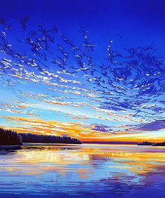 """""""Sunset on Dog Lake"""" by Margarethe Vanderpas 100 Easy Watercolor Painting Ideas for BeginnersMore Splattered Paint Art Ideas and TipsHow To Paint A Lighthouse Sunset –…How To Paint A Sunset In Acrylics – Hot Air… Landscape Art, Landscape Paintings, Watercolor Paintings, Watercolour, Canadian Art, Lake Superior, Wildlife Art, Painting Inspiration, Abstract Art"""
