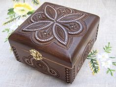 Jewelry box Wooden box Ring box Carved wood box by HappyFlying, $40.00