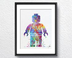 Lego Emmet inspired Watercolor illustrations Wall by PainterlyDots