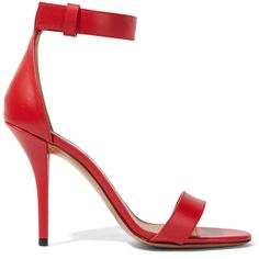 Givenchy Retra sandals in red leather ($645) ❤ liked on Polyvore featuring shoes, sandals, givenchy, heels, red, red sandals, red shoes, leather strappy sandals, leather shoes and leather high heel sandals