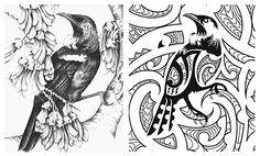 huia Tui Bird, Bird Doodle, Maori Designs, New Zealand Art, Nz Art, Examples Of Art, Maori Art, Kiwiana, Art N Craft