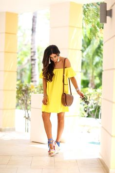 The sweetest Thing blog, emily gemma, ASOS off the shoulder dress, tory burch serif saddle bag, karen walker super duper tortoise, vanessa mooney white tassel earrings, kate spade danah wedges, brunette balayage medium layers, excellence playa mujeres cancun,yellow off the should dress, pinterest vacation beach outfit ideas, summer fashion pinterest, david yurman bracelet stack, white hermes bracelets , tulsa fashion blogger,