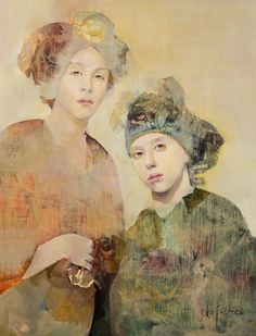 Françoise de Felice Mother and daughter. Love the dominant faces and the non definite lines and shading of rest of painting. Photo Portrait, Portrait Art, Art And Illustration, Figure Painting, Painting & Drawing, Figurative Kunst, Kunst Online, Art Moderne, Tempera