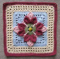 "Ravelry: 12"" Fuschia Afghan Block pattern by Abigail Bailey"