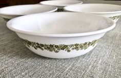 4 Vintage Corelle Spring Blossom/Crazy Daisy Cereal/Soup Bowls with Green Floral Pattern by EastSideBazaar on Etsy
