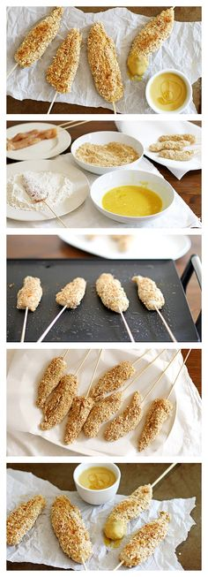 Pretzel Crusted Chicken On A Stick!
