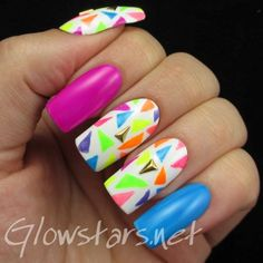 The Digit-al Dozen does geometric: 80s neon - a manicure using All That Jazz Ice Ice Baby, LA Colors Flicker, LA Colors Aquatic, LA Colors Hottie, LA Colors Absolute, LA Colors Spat, LA Colors Electra, LA Colors Mint, LA Colors Illusion and LA Colors Frill