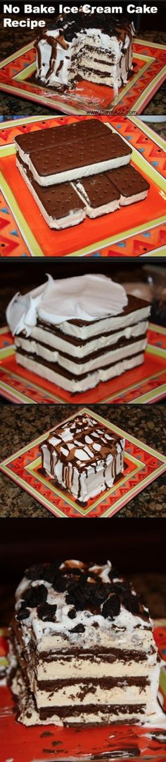 Genius!!!! EZ Ice Cream cake! My Mom has made this easy dessert for company before and it was a big hit! You could always add a layer of peanut butter, caramel, chocolate fudge or Nutella between the sandwiches for variations.