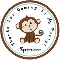 Cute Little Monkey Personalized Stickers - Party Favors - Birthday Stickers - Gift Tag - Choice Of Size  (9) on Etsy, $5.00