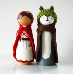 This listing is for two JUMBO peg dolls. You will get: One little Red Riding Hood One Big Bad Wolf These Pegs stand 6.2 inches tall and are made out of beautiful Beech wood. They are painted and sealed with non toxic paints. The wolf has a crocheted hat made of wool. Both Little Red and the