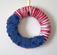 Red White Blue Wreath Patriotic